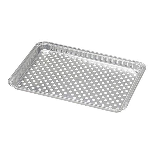 pinkada 24-Pack Disposable Aluminum Foil BBQ Grill Topper Pan Prevents Food from Falling into The Grill or Sticking to The Grate No Clean Up Necessary – Perfect for Camping and Outdoor Use