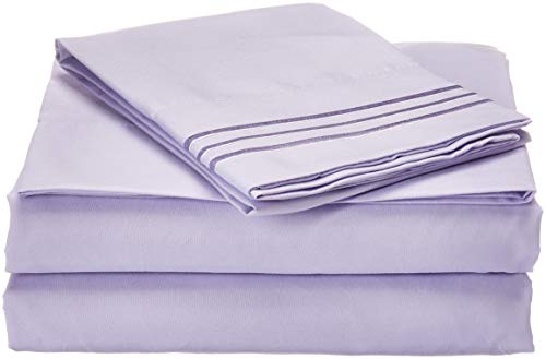 Luxurious Bed Sheets Set on Amazon! Celine Linen 1800 Thread Count Egyptian Quality Wrinkle Free 3-Piece Sheet Set with Deep Pockets 100% , Twin Lilac
