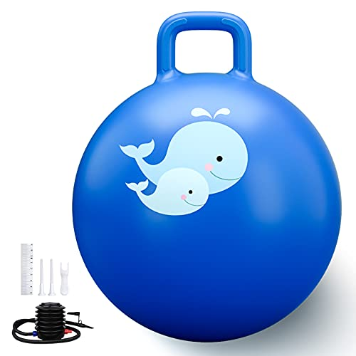 Trideer Hopper Ball Kids Exercise Ball Multi-Function, Jump Ball, Bouncy Ball with Handles, Kids Balance Ball and Ball Chair for Children Age 3-12, Air Pump Included
