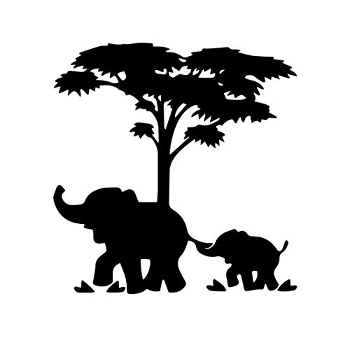 Bargain Max Decals Mom and Baby Elephant Sticker Decal Notebook Car Laptop 5' (Black)