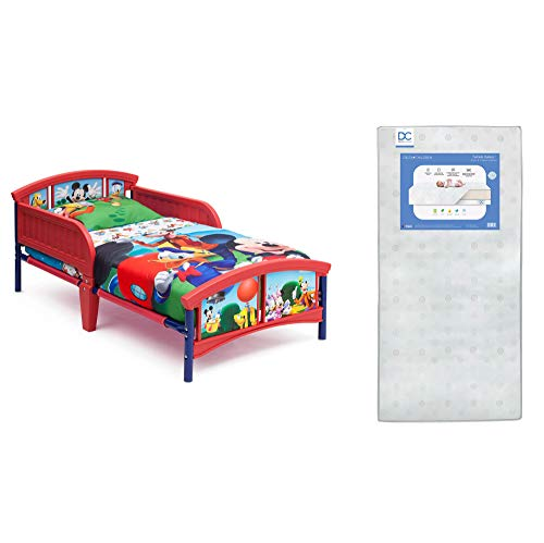 Delta Children Plastic Toddler Bed, Disney Mickey Mouse + Delta Children Twinkle Galaxy Dual Sided Recycled Fiber Core Toddler Mattress (Bundle)