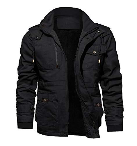 TACVASEN Men's Hooded Military Tactical Jacket Windbreak Fleece Coat Black, US S
