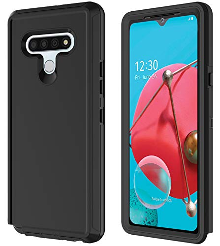 Annymall Case for LG K51, LG Q51/LG Reflect Case with Built-in Screen Protector Shockproof Phone Cover Triple Layer Hybrid Rugged Heavy Duty Bumper Phone Case for LG K51/Reflect (Black)