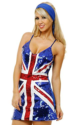 Charades Women's British Flag Sequin Costume Dress, Blue, Large