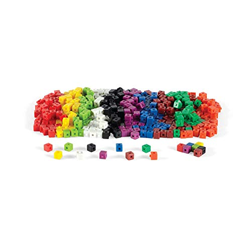 hand2mind Plastic Interlocking Math Cubes With Storage Tub, Rainbow Colored, Math Manipulative For Early Math Skills, Educational Counting Toy, Home School Supplies (Pack of 500),4340-5
