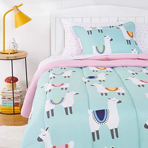 AmazonBasics Kids Easy-Wash Microfiber Bed-in-a-Bag Bedding Set - Twin, Llama Party