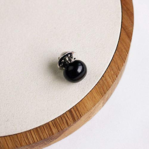 NUOMI 10 Pieces Cover up Buttons Round Imitation Pearl Instant Button Pins Button Decor for Shirts, Blouses, Collar, Sleeve, Brooches, Clothes Accseeories, Black