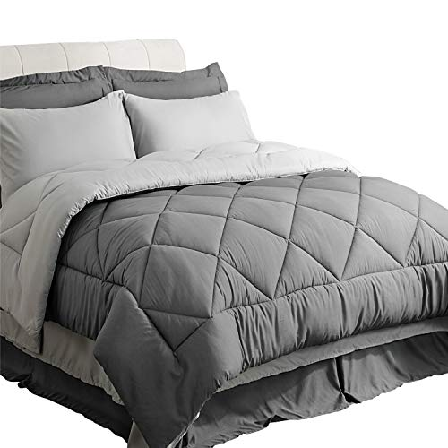 Bedsure Twin XL Comforter Sets Bedding Comforters for Twin XL Bed with Sheets Bed in A Bag 6 Pieces Grey - 1 Comforter, 1 Pillow Sham, 1 Flat Sheet, 1 Fitted Sheet, 1 Bed Skirt, 1 Pillowcase