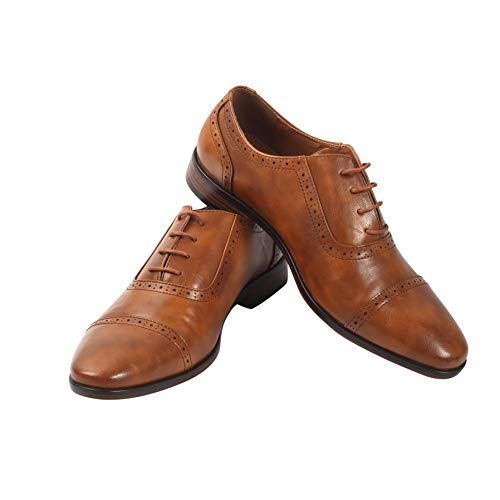 Men's Oxford Wingtip Lace Dress Shoes | Leather Dress Shoes for Work | Oxford Brogue Formal Party Shoes | Wedding Shoes | Quality Craftsmanship | Everyday Comfort (10.5, Light Brown)