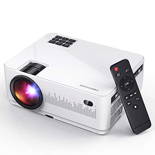 DBPOWER L21 LCD Video Projector, 6000L 1080P Supported HD Projector Mini Movie Projector with HDMIx2/USBx2, Compatible with Smart phone/PC/TV/PS4/DVD