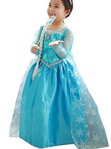 CXFashion Elsa Baby Childs Princess Lace Party Dress Up Costume for Girls Sky Blue