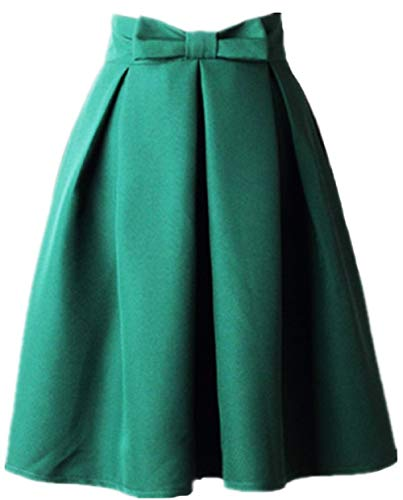 Women's A Line Pleated Vintage Skirt High Waist Midi Skater with Bow Tie (L, Green)