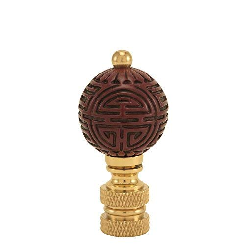 Cinnabar Finial Faux Cinnabar Far East Asian Lamp Shade Topper Oriental Style Red Ball 2.25' Tall