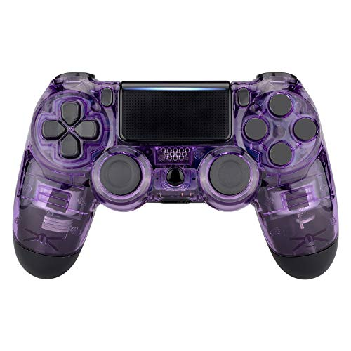 eXtremeRate Transparent Crystal Clear Purple Front Housing Shell Faceplate Cover for PS4 Slim PS4 Pro Controller (CUH-ZCT2 JDM-040 JDM-050 JDM-055) - Controller NOT Included