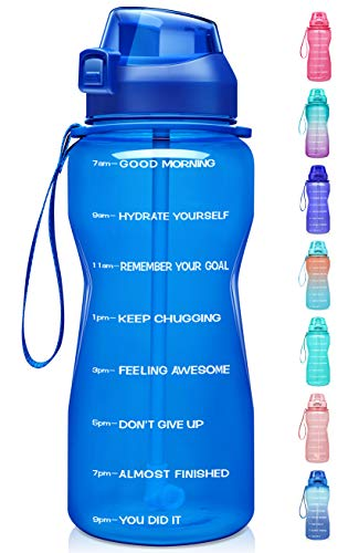 Fidus Large Half Gallon/64oz Motivational Water Bottle with Time Marker & Straw,Leakproof Tritan BPA Free Water Jug,Ensure You Drink Enough Water Daily for Fitness,Gym and Outdoor Sports-Blue