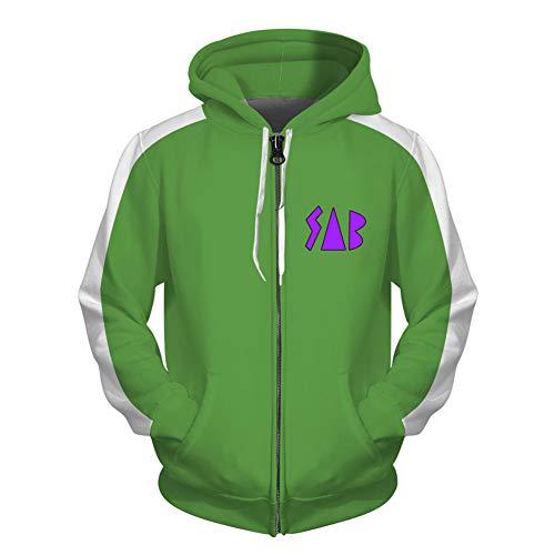 BEDJIMI Unisex 3D Printed Green Blue Hoodie Zip Up Jacket Casual Hooded Sweatshirts