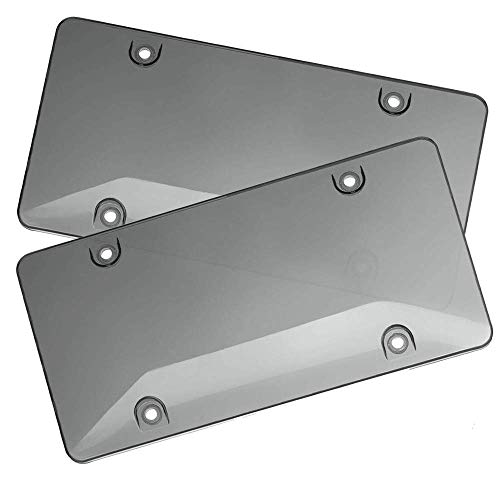 WildAuto License Plate Cover 2Pcs Smoked Bubble Design Car Licenses Frame Shields with Screws Caps