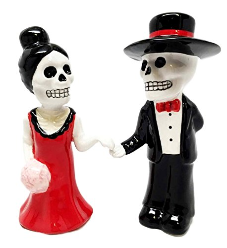 Dias De Los Muertos Wedding Dance Sugar Skulls Ceramic Salt Pepper Shakers