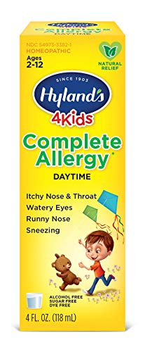 Kids Allergy Medicine by Hyland's 4Kids, Non Drowsy Childrens Complete Allergy Relief Syrup, Safe and Natural for Indoor & Outdoor, 4 Oz (Packaging May Vary)