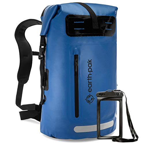 Earth Pak Waterproof Backpack: 35L / 55L Heavy Duty Roll-Top Closure with Easy Access Front-Zippered Pocket and Cushioned Padded Back Panel for Comfort; IPX8 Waterproof Phone Case Included