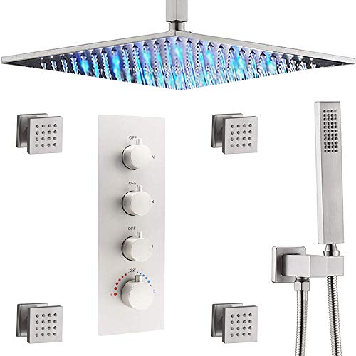 Thermostatic Brushed Nickel Shower System 16 Inch Ceiling LED Shower Head With 4 PCS Body Spray Set Shower Set(All Showerheads Can Run Together)