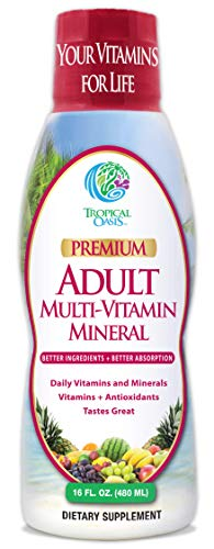 Tropical Oasis Adult Liquid Multivitamin -Liquid Multi-Vitamin and Mineral Supplement with 125 Total Nutrients Including; 85 Vitamins & Minerals, 23 Amino Acids, and 18 Herbs - 16 fl oz, 32 serv