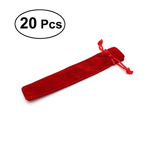 20pcs Single Velvet Drawstring Pen Pouch Sleeve Holder Pen Case Gift Pencil Bag Set (Red)