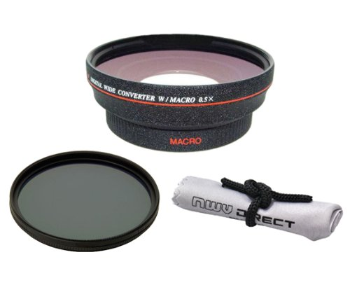 52mm 0.5x Super Wide Angle Lens With Macro (Wider Alternative To Panasonic DMW-GWC1 & Stronger Macro Alternative To Panasonic DMW-GMC1 ALL IN ONE LENS!) + Stepping Rings (37-52mm) & (46-52mm) + 67mm Circular Polarizing Filter + Nwv Direct Micro Fiber Cleaning Cloth