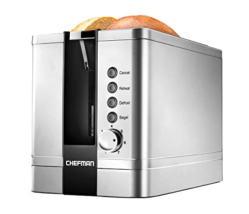 Chefman 2-Slice Pop-Up Stainless Steel Toaster w/ 7 Shade Settings, Extra Wide Slots for Toasting Bagels, Defrost/Reheat/Cancel Functions, Removable Crumb Tray, 850W, 120V, Silver