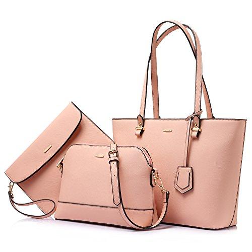 Handbags for Women Tote Bags Shoulder Bag Top Handle Satchel Sets Designer Purse Set 3PCS Handy Chic Pink