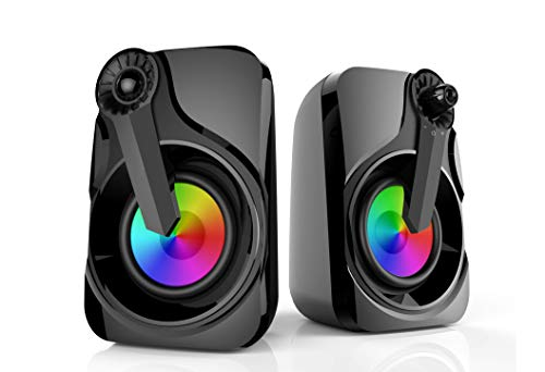 Computer Speakers, Maboo PC Speakers USB Powered 3.5mm Multimedia with RGB Light for Laptop, PC, Smartphone, TV (Colorful Speakers)