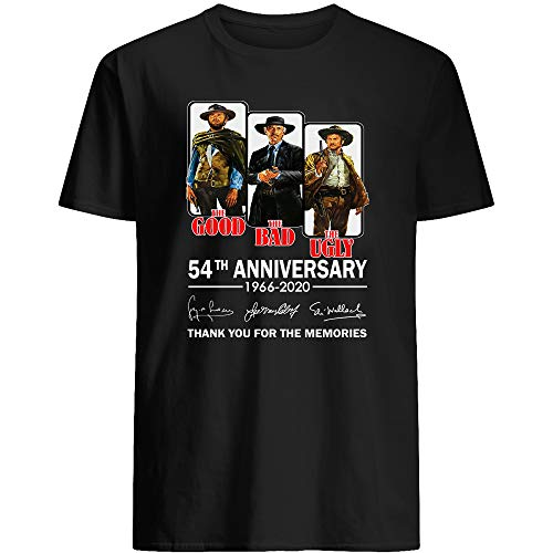Amirna The Good Movie The Bad The #Ugly 54th Anniversary 1966-2020 Signed Gifts Funny Men Women T-Shirt (Black-L)