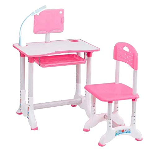 nikunLONG Height Adjustable Kids Desk and Chair Set, Children Study Desk Table & Chair Drawing Set Bookstand with Storage Drawer Pen Container, Writing Table Set (Pink,10kg)