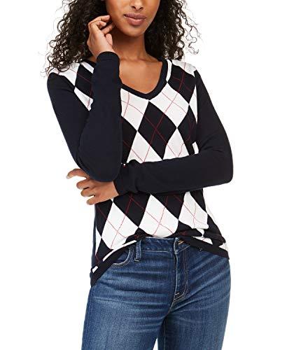 Tommy Hilfiger Women's Fit V-Neck Sweater, Argyle, Medium