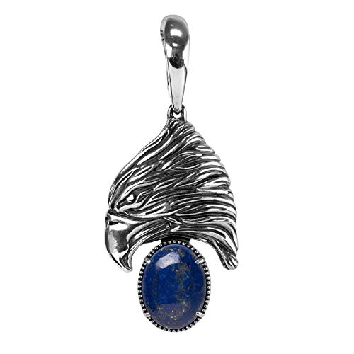 American West Sterling Blue Lapis Gemstone Fritz Casuse Designed Eagle Pendant Enhancer