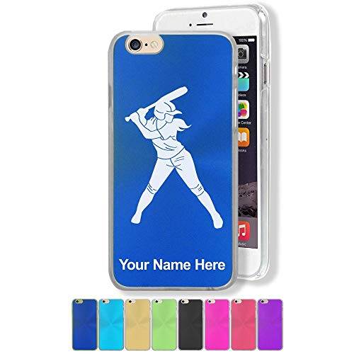 Case Compatible with iPhone 6 Plus and iPhone 6s Plus, Softball Player Woman, Personalized Engraving Included