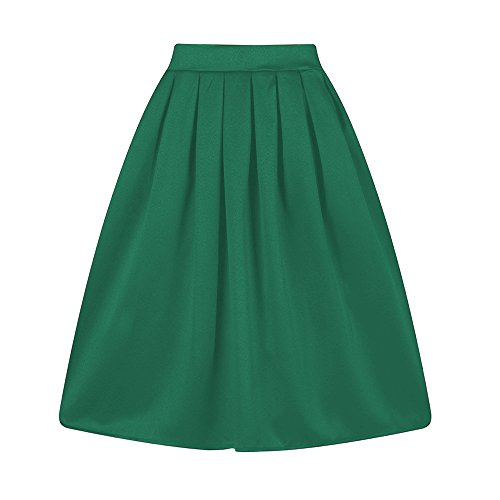 Taydey A-Line Pleated Vintage Skirts for Women (M, Z-Green)