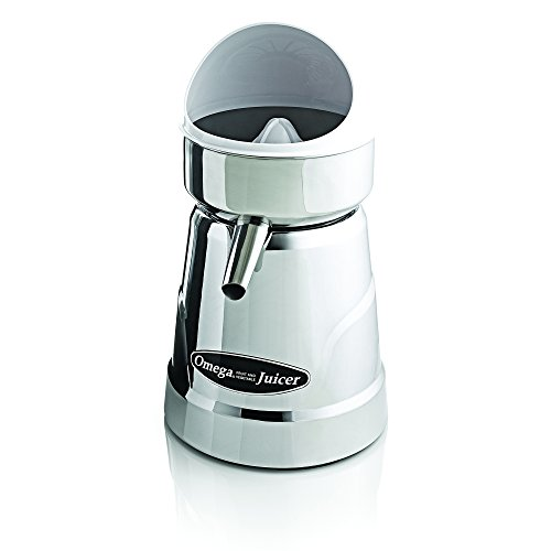 Omega Juicer C-20C Professional Citrus Juicer Features 3 Juice Cones for All Citrus Sizes 1800 Rotations Per Minute Surgical Steel Bowl and Pulp Strainer with Non-Slip Feet, Silver, Metallic