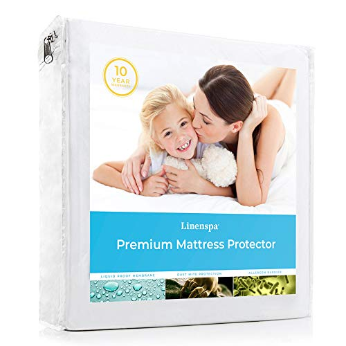 LINENSPA Premium Smooth Fabric Mattress Protector-100% Waterproof-Hypoallergenic-Vinyl Free Protector, Twin, White