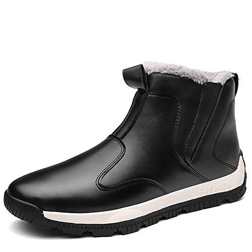 Odema Men's Outdoor Waterproof High Top Boots Slip-on Warm Shoes Winter Snow Boots Black