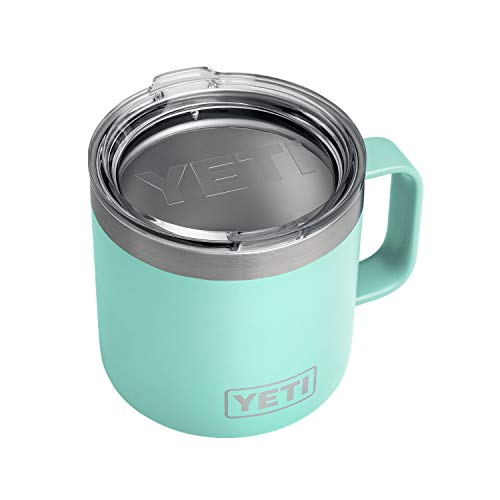 YETI Rambler 14 oz Stainless Steel Vacuum Insulated Mug with Lid, Seafoam