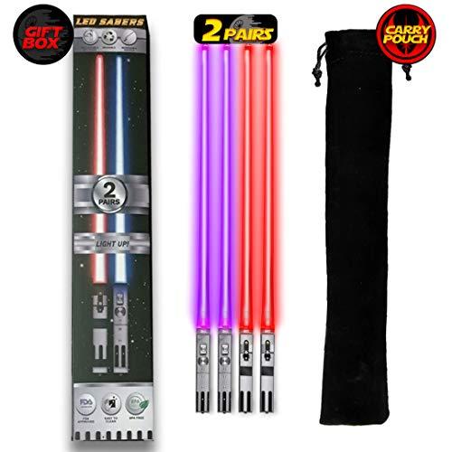 Lightsaber Chopsticks Light Up - LED Glowing Light Saber Chop Sticks - Reusable Sushi Lightup Sabers Chopstick Set Of 2 Pairs - Purple & Red