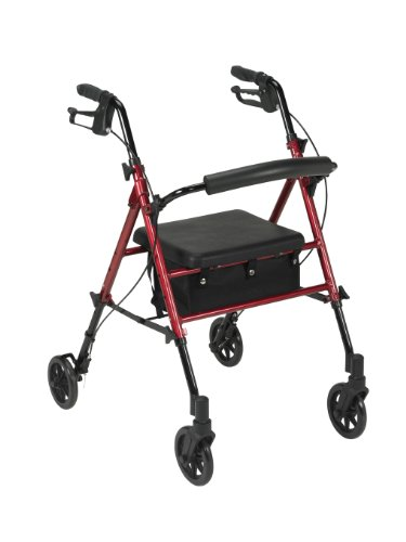 Drive Medical Adjustable Height Rollator with 6 Inches Wheels, Red