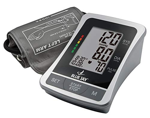 Blue Jay Perfect Measure Deluxe Large Digit Arm Blood Pressure Kit - Blood Pressure Measuring Kit, Adult BP Meter, 2 Arm Cuffs, AC Adapter Charger, Professional Diagnostic Device. Health Monitors
