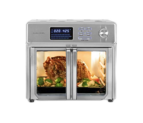 Kalorik AFO 46045 SS 26 QT Digital Maxx Air Fryer Oven, Roaster, Broiler, Rotisserie, Dehydrator, Oven, Toaster, Pizza Oven and Slow Cooker. 9 Accessories with Cookbook. Sears up to 500⁰F. Extra Large Capacity, All in One Appliance. Stainless Steel.