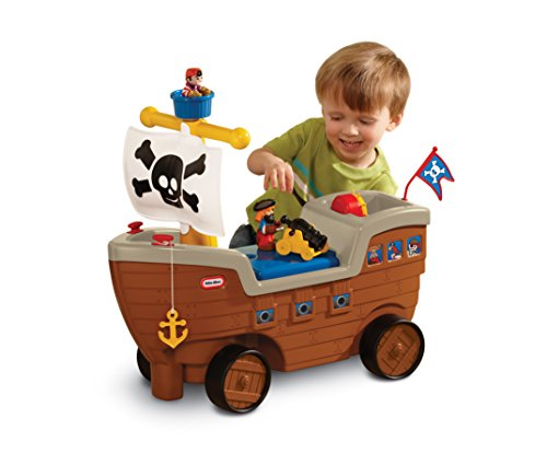 Little Tikes 2-in-1 Pirate Ship Ride-On Toy and Playset - Kids Ride-On Boat with Wheels, Under Seat Storage and Playset with Figures - Interactive Ride on Toys for 1 year olds and above
