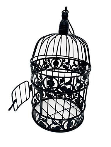 """PET SHOW Round Birdcages Wedding Gift Cards Holder Metal Wall Hanging Bird Cage for Small Birds Party Indoor Ourdoor Decoration 10.6"""" Black Pack of 1"""