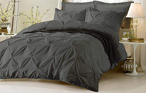 Kotton Culture Pinch Pleated 3 Piece Duvet Cover Set 100% Egyptian Cotton 600 Thread Count with Zipper & Corner Ties Tuffed Pattern Decorative (Cal King/King, Grey)