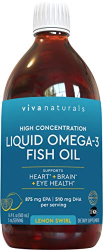 Liquid Fish Oil; Refreshing and Delicious Naturally Sweetened Lemon Omega 3 Fish Oil Liquid with No Fishy Aftertaste, 16 fl. oz. (500 mL)