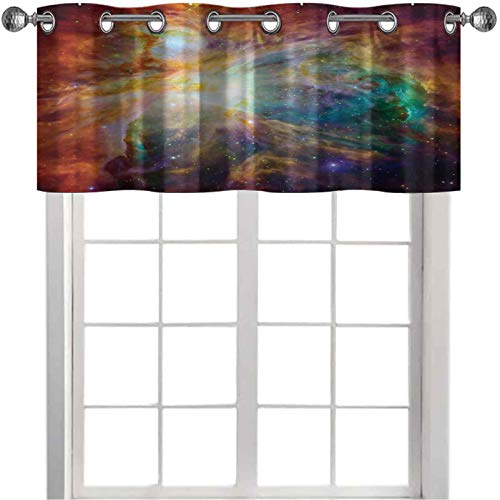 Small Window Valances Curtains Universe Abstract Nebula Galaxy Chakra Infinity Psychedelic Photography Print 36' x 18' Light Blocking Valance for Bedroom Multicolor